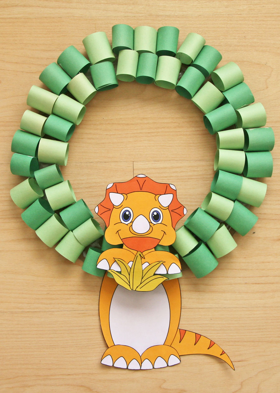 Triceratops wreath to use with Dinosaurs Before Dark