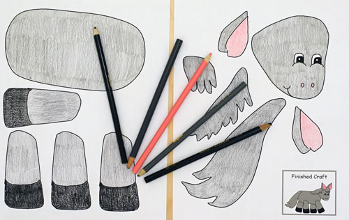 Color the paper donkey templates