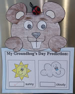 Groundhog Paper Craft with Predictions Worksheet or Writing Paper