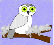 Snowy Owl on a winter branch Paper Craft
