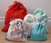 upcycled drawstring produce bag