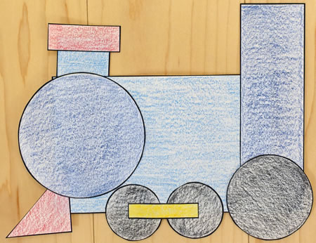 Shapes train paper craft