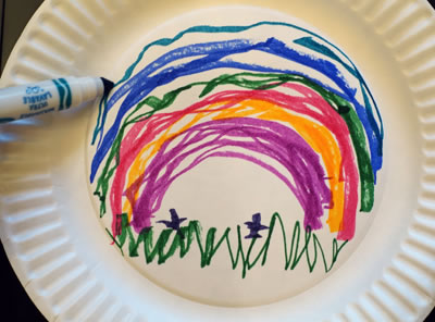 rain painting paper plate artwork