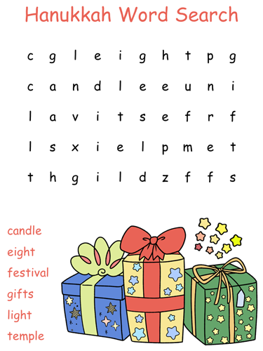 Hanukkah word search puzzle